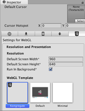 WebGL Template Settings